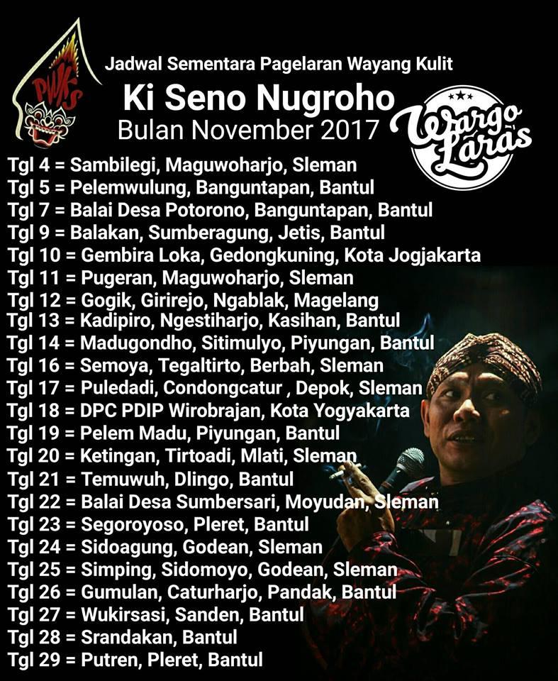 Jadwal Wayang Ki Seno Nugroho