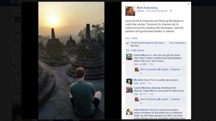 Permalink to CEO Facebook Berkunjung ke Candi Borobudur